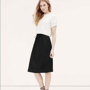 Loft silky black drawstring midi skirt